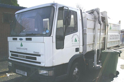 glass recycling collection vehicle